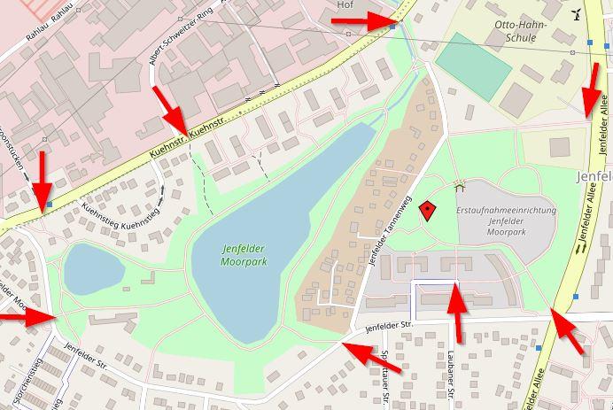 Karte und Zugänge vom Jenfelder Moorpark