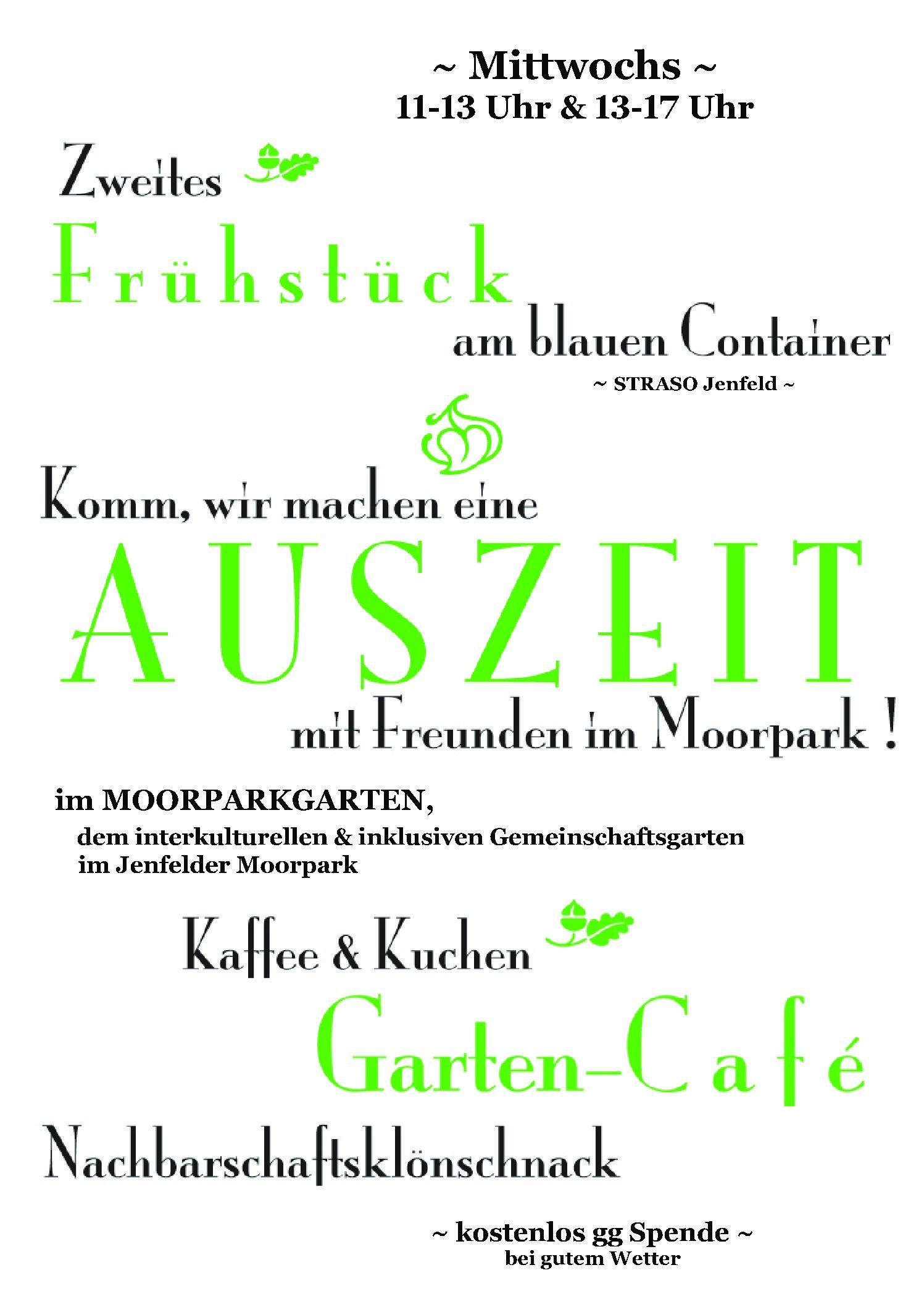 Mittwochs-AUSZEIT im Jenf. Moorpark mit Frühstück & Garten-Café